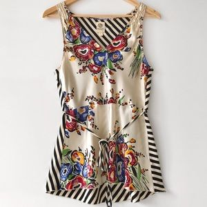 """Anthropologie Silk Floral & Striped Top by """"Tiny"""""""